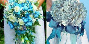 Букет невесты в светло-голубом цвете