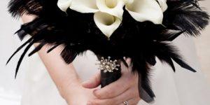 Букет невесты в черно-белом цвете