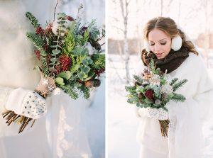 Стильные зимние аксессуары в образе невесты